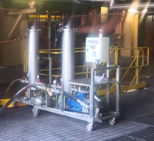 Oil-cleaning-at-site-with-Hy-Pro-DFE-rated-filter-Power-Plant-MI
